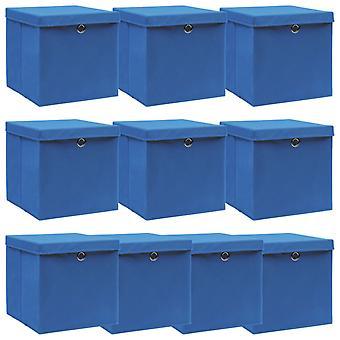 vidaXL säilytyslaatikot kannella 10 kpl. sininen 32×32×32 cm kangas