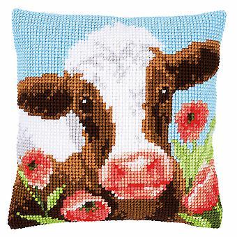 Vervaco Cross Stitch Kit: Cushion: Cow in Poppy Meadow