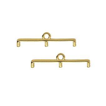 """קצות חרוזים מצילתיים עבור 11/0 עדינים & חרוזים עגולים, טופוליה III, 5.5x23 מ""""מ, 2 חלקים, מצופה זהב 24k"""