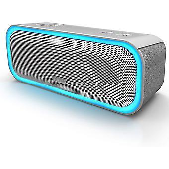 Przenośny głośnik Bluetooth DOSS z efektami świetlnymi, wodoodporny IPX5, głośnik bezprzewodowy 20 W, żywotność baterii 20H, technologia TWS, port USB, Aux i SD (szary)