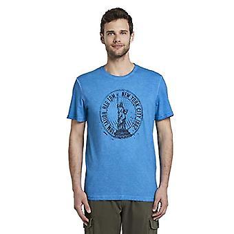 Tom Tailor Motiv T-Shirt, 15527/Electric Teal Blue, XL Men's