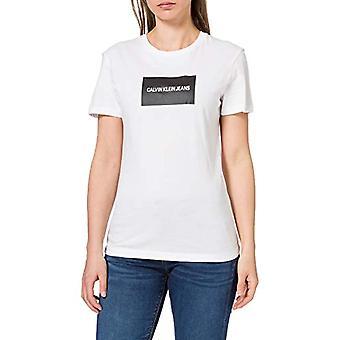 Calvin Klein Institutional Box Slim Fit Tee T-Shirt, Bright White/CK Black, Medium Woman