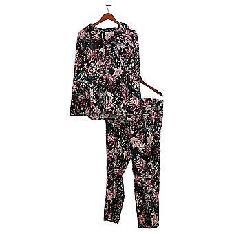Carole Hochman Women's Set Reg Silky Velour 2-Piece Pajama Black A311251