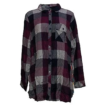 Tolani Collection Women's Top Regular Plaid Tunic with Print Back Red A383438