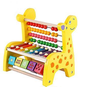 Jelenie Drewniane Rack Baby Music Percepcja Harp Xylophone Zabawki Wczesna edukacja (#01 Żółty)