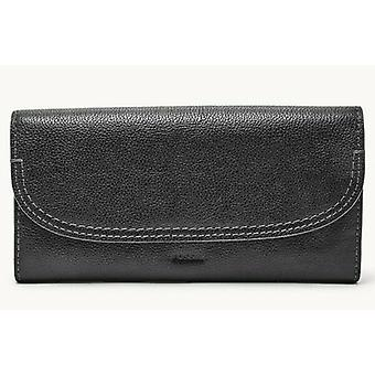 Fossil Cleo Flap Clutch Black Leather Wallet SWL3089001