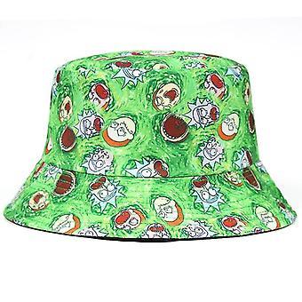 Okurka rick bavlna nový kbelík klobouk rick rybářská čepice nás anime bavlněný tisk rybář bob klobouk slunce rybaření boonie klobouk