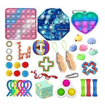 30st Fidget Leksaker Set Push Pop Bubble Stress Reliever för barn