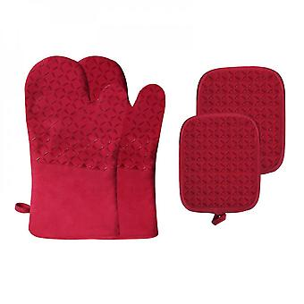Mimigo Pot Holders And Oven Mitts Sets,  High Heat Resistant Oven Gloves And Potholders, Non-slip Grip Hot Pads With Food Grade Silicone Texture, Perf
