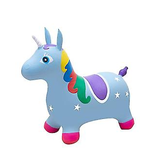 Painted Jumping Unicorn Inflatable Toy Kids's Bouncy Game(Blue)