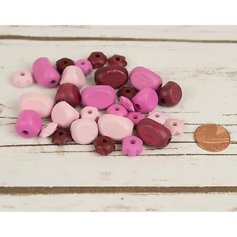 Blandade rosa Mix med blomma formad trä trädande pärlor vuxna hantverk - 30pk
