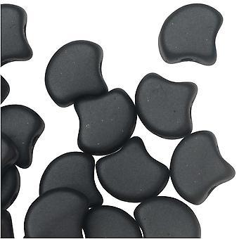 Czech Glass, 2-Hole Ginko Beads 7.5mm, 10 Grams, Metallic Black