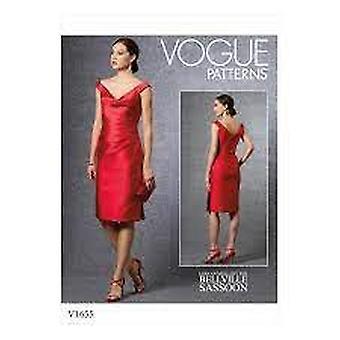 Vogue sy mønster 1655 savner kjole størrelse 6-14 uklippet designer