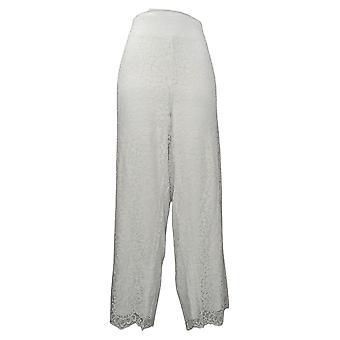 Isaac Mizrahi En direct! Pantalon Plus femme Jambe large Tricot Dentelle Blanche A375764