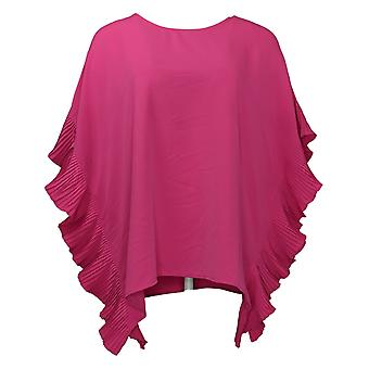 DG2 By Diane Gilman Women's Top Pleated Poncho Blouse Pink 697478