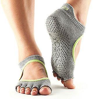 ToeSox No Toe Bellarina Pilates Yoga Dance Martial Arts Grip Strumpor - Heather Grey/Lime