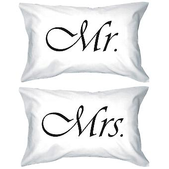 Mr og Mrs par Pillowcases stilig samsvarende pute dekker gaver for nygifte