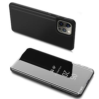 ClearView Cover for Apple iPhone 13 Pro Max Black | Semi transparent front | Full protection | Kickstand