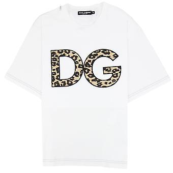Dolce & Gabbana Dolce & Gabbana Dg Patch Leopard Print T Shirt White W0800