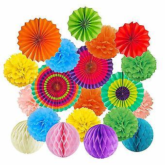 Paper Honeycomb Fan Pom Ball Set Hanging Wedding Festival Party Decor