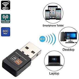 600mbps Usb Mini Dual-Band Wireless Netzwerkkarte 2.4g / 5ghz Wifi Empfänger Adapter