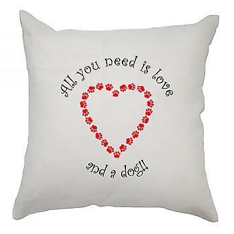hjerter putetrekk 40cm x 40cm - kjærlighet og en hund