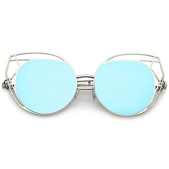 Geometric Cutout Thin Metal Cat Eye Sunglasses Round Mirrored Flat Lens 53mm