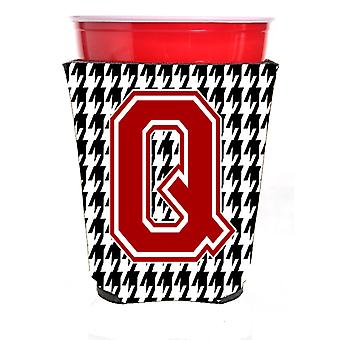 Monogram - Houndstooth  Initial  Q Red Solo Cup Beverage Insulator Hugger