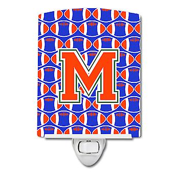 Letter M Football Green, Blue and Orange Ceramic Night Light