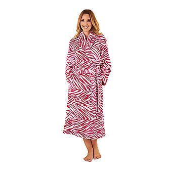 Slenderella GL8741 Frauen Zebramuster Himbeer rosa Robe Langarm Morgenmantel