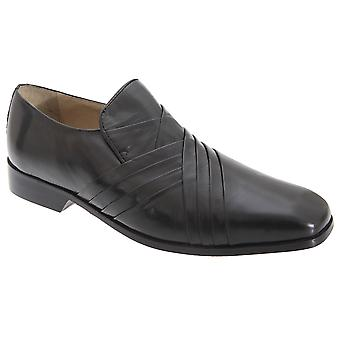 Montecatini Mens Cross Pleated Tab Front Leather Shoes