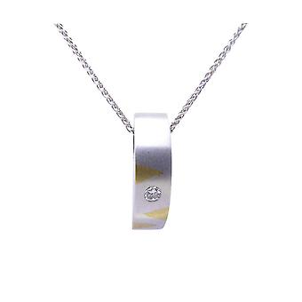 White Gold curved pendant with diamond