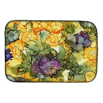 Carolines Treasures  8958DDM Abstract Flowers Purple and Yellow Dish Drying Mat