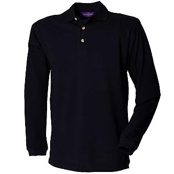 Henbury Mens Long Sleeve Classic Polo Shirts With Stand Up Collar