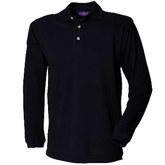 Henbury Mens camisas de manga larga Polo clásico con cuello de pie