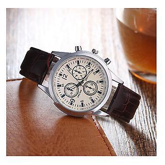Smart Luxury Silver Black Watch Elegant Business Brown Strap