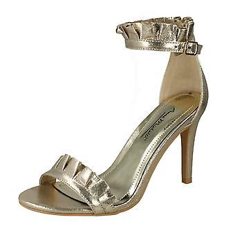 Dames Anne Michelle Ruffle Ankle sandalen F10833 - goud textiel - UK maat van de borstband 8 - EU maat 41 - US maat 10