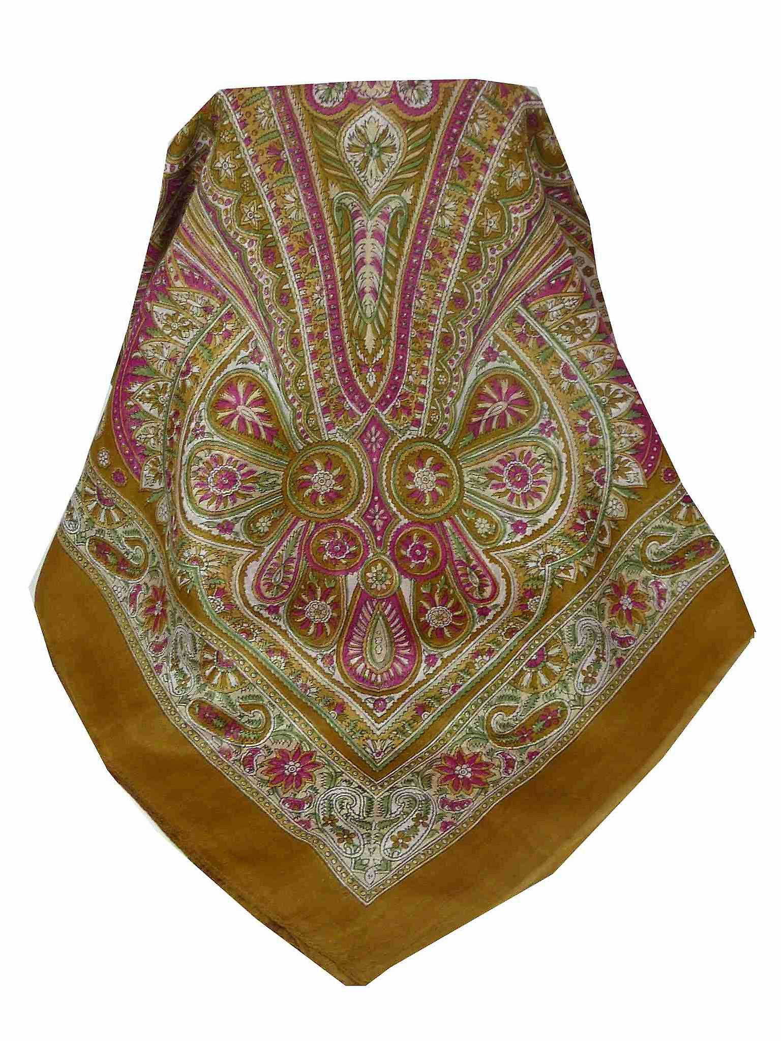 Mulberry Silk Traditional Square Scarf Juhu Gold by Pashmina & Silk