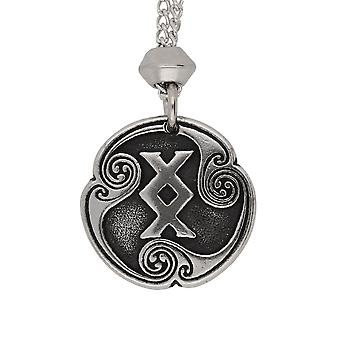 Handmade Norse Viking Ingwas Rune of Completion 22nd Runic Letter Pewter Pendant