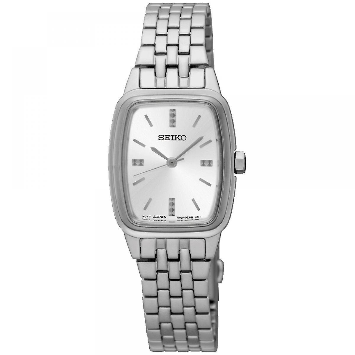 Seiko Tonneau Silver Silver Stainless Steel Strap Ladies Watch SRZ469P1 22mm