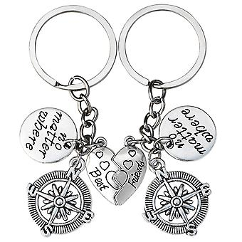 TRIXES No Matter where Silver Best Friend Heart Shaped Keyring