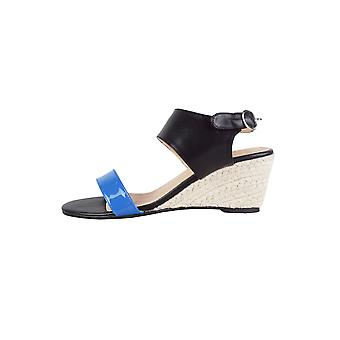 Lovemystyle Cork Wedge Sandals With Black And Blue Strap