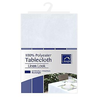 60X90Inches Rectangle Polyester Table Cover White Linen Look