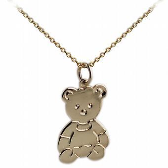 9ct Gold 21x19mm flache Teddybär mit einem Kabel Kette 20 Zoll