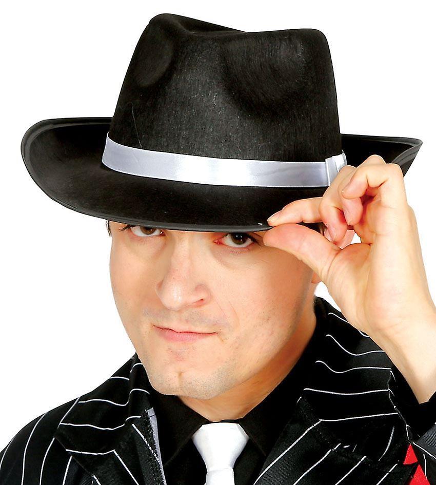 Cappello Gangster nero con nastro bianco costume accessorio