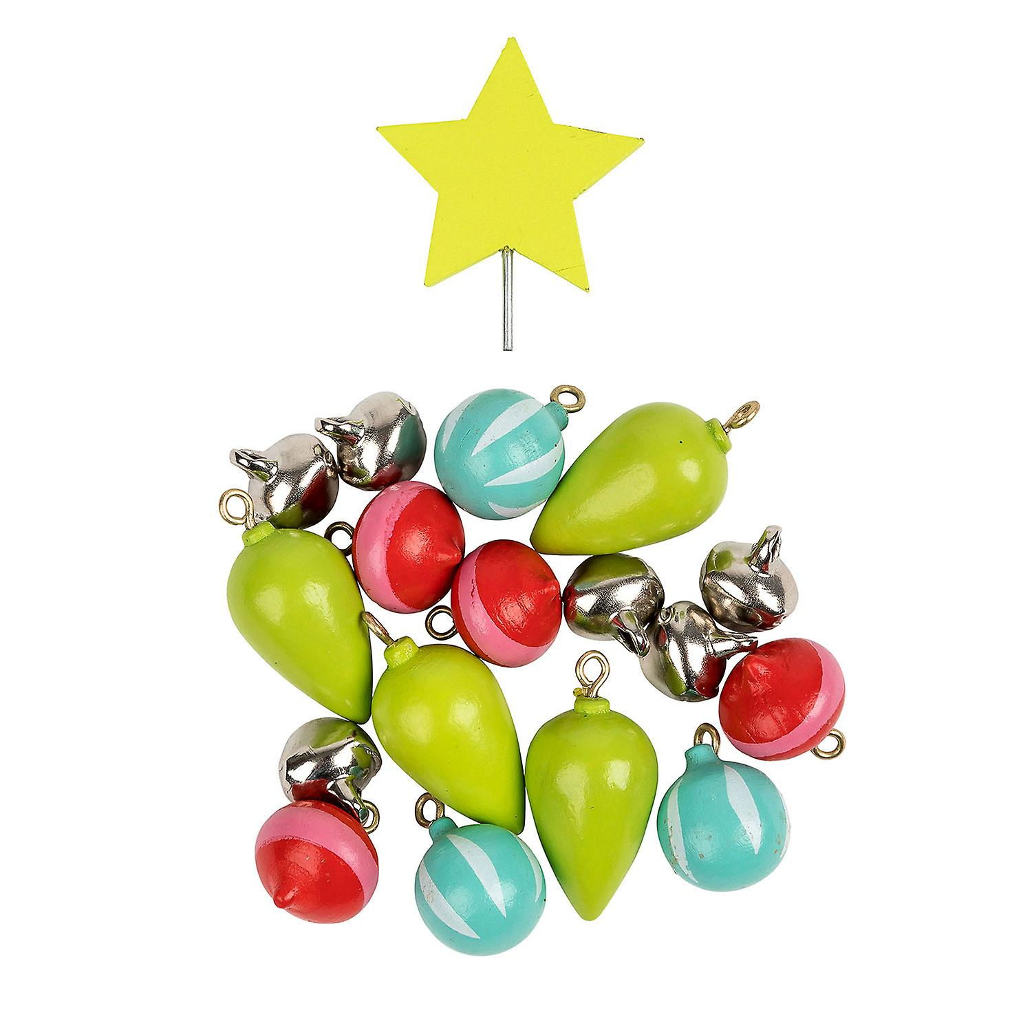TRIXES Wooden Christmas Tree Ornament Decoration Colour Green