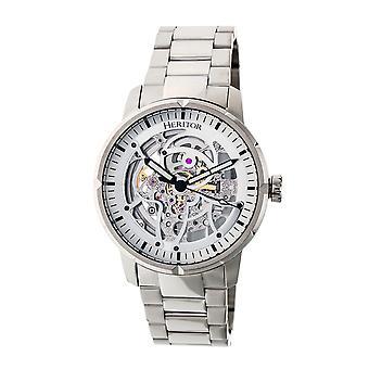 Heritor Ryder automático esqueleto Dial pulseira relógio - branco/prata