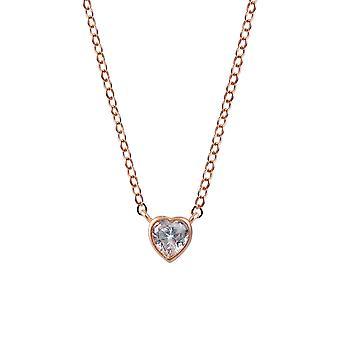 Orphelia sølv 925 halskæde med vedhæng Rose hjerte med sten 45 CM