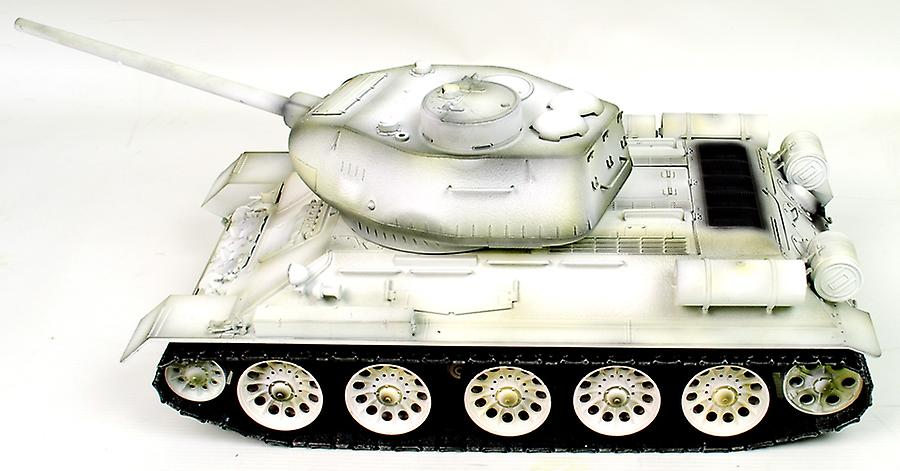 Taigen Hand Painted RC Tank T34/85 White Winter Camo - Full Metal - 2.4GHz