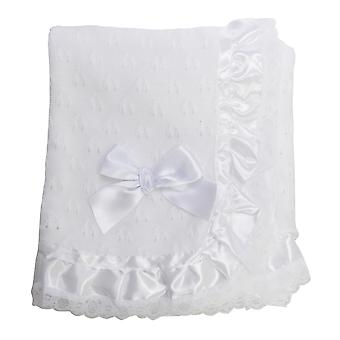 Snuggle Baby Bow Detail Lace Satin Christening Shawl